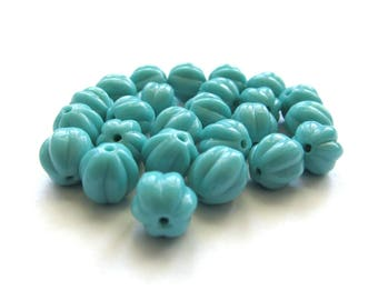Opaque Turquoise Blue Czech Glass Melon shaped Beads, 8mm - 25 pieces