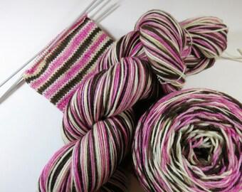 Handpainted Superwash Merino/Nylon 4-ply Sock Yarn -- Perfect Threesomes Striping Yarn for Socks or Gloves -- Pidowy Ice Cream