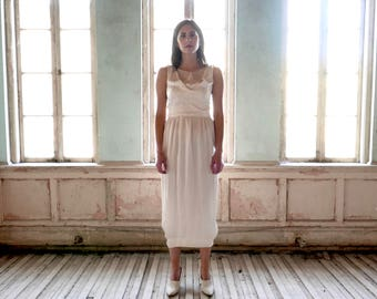1920s Ivory Silk Charmeuse Dress With Attached Train Size Small