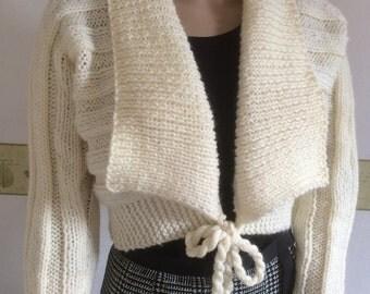 Ladies Knit Shrug/ Cream Ladies Cardigan- Women's Shrug- Long sleeved cropped cardigan- Ready to Ship - Reduced