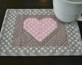 Handmade Quilted Heart Mug Rug Polka Dot Pink Heart Coffee Mug Rug Coffee Lovers Mug Rug Valentines Mug Rug Snack Mat Coasters