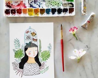 Original Meditation Terrarium Bell Jar Butterfly Girl Portrait Floral Watercolor Illustration