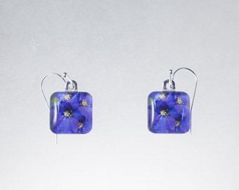 Purple Flowers Glass Tile Earrings