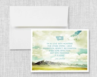 greeting card, montana, steinbeck, quote, blank greeting card, greeting card set, montana card, mountains, blue, clouds, sky, landscape, art