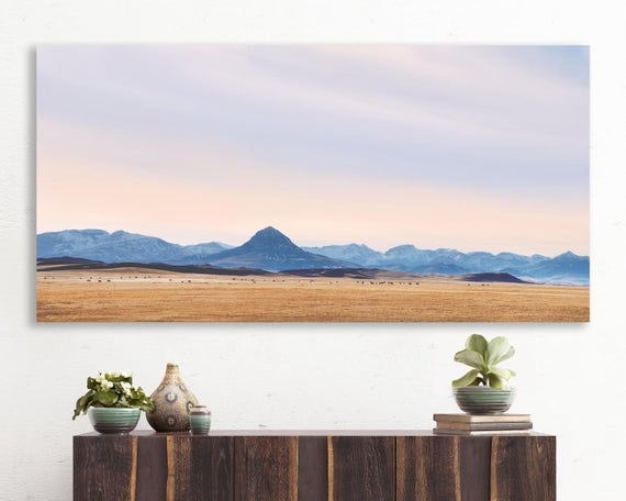 """large colorful landscape, large canvas wall art, large landscape wall art, mountain landscape photography, art - """"The Rocky Mountain Front"""""""