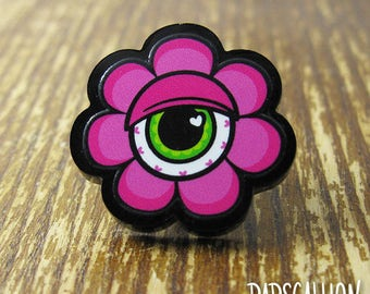 Eyeball Flower Acrylic Lapel Pin