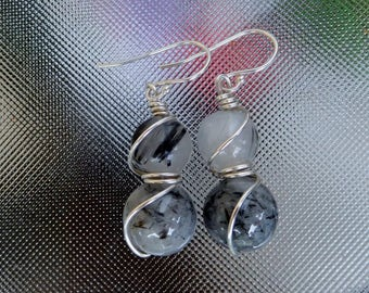 Tourmalinated Quartz round Sterling silver wrapped earrings