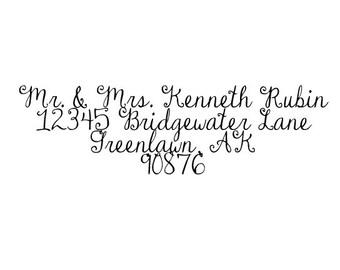 Beautiful Custom Calligraphy Return address rubber stamp