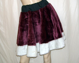 Christmas Skirt Elf Santa's Helper Burgundy Red White Mini w White Fur Ugly Sweater Holiday Party OOAK Upcycled Circle Skirt S-XL Adult