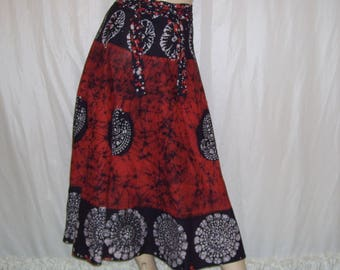 India Batik Wrap Skirt Vintage Hippie Boho Indigo Poppy Cotton A-line Dye Block Print Summer Glamping Gypsy Cruise Resort Adult Wrap Skirt