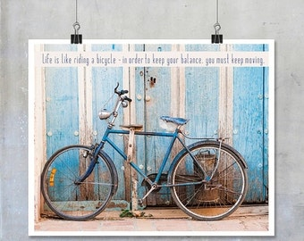 Bicycle art poster inspirational quote art print travel art photo Cuba photography bicycle wall art home decor original Einstein quote
