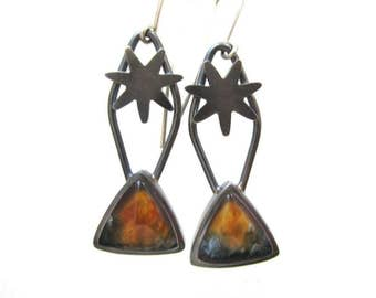 Flame Agate and antiqued sterling silver dangling earrings, orange stone earrings, star shape and triangle shape earrings