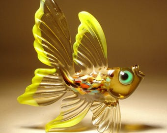 Handmade Blown Glass Art Figurine Amber and Yellow Exotic Fish