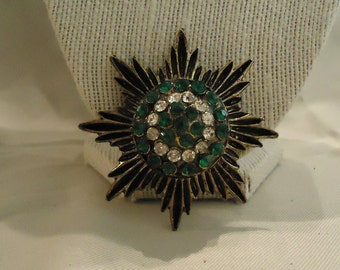 Vintage Brooch Antique Gold with Green and Clear Glass Crystals Rhinestones Pointed Medallion Like 1970's Costume Jewelry Accessories