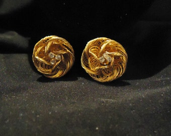 Gold Metal Mesh Clip On Earrings Round Wire Flowers Looking Clear Glass Rhinestones Crystals Centers 1970's Vintage Costume Jewelry