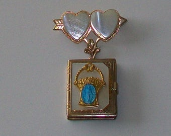 Vintage Book Locket Pin Brooch Hearts 6 Photos Mother of Pearl & Blue Enamel Religious Metal Goldtone Jewelry