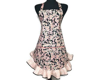 Pink Cherry Blossom Apron for women , Retro Style Floral Apron with Ruffle , Pink Flower Kitchen Decor , Adjustable to Plus Size / Frilly