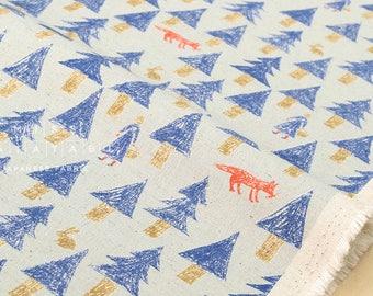 Japanese Fabric Kokka nishi shuku - forest - pale grey, blue - 50cm