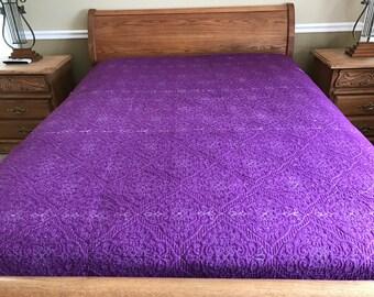 flower   stitched design quilt/ White on Purple