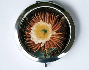 Night Blooming Cereus Cactus Flower Compact Mirror Pocket Mirror
