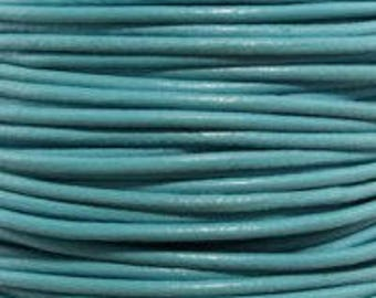 "2mm Round Turquoise Leather Lace Cord - 2mm 3/32"" Diameter Teal Aqua Blue Craft Jewelry Bracelet Wrap Necklace - I ship Internationally"