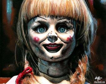 "Print 8x10"" - Annabelle - Dark Art Horror Vintage Doll Supernatural Satanic Cult Demon Halloween Gothic Pop Art Scary Devil Blonde Death"