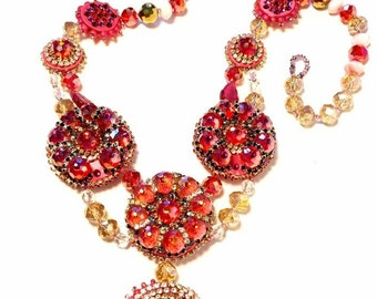 Medallions Statement Necklace,red, pink, gold and crystal tones