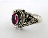 Sythetic Ruby Poison Ring Bali Sterling Silver Locket Ring July birthday birthstone AR04