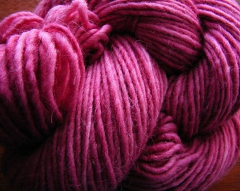 Handpainted Yarn Wool Mohair 155yards 3.25oz Worsted Weight Knitting Aspenmoonarts Hand Painted Mauve Pink C021 Felting