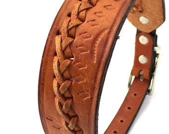 Rustic Leather Dog Collar with Tooling and Braiding, Size S-M, to fit a 14-17 Neck, Small to Medium Dog, Unique, EcoFriendly, OOAK