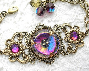 Crystal Volcano Pansy Glass Button Bracelet - Antiqued Brass Adjustable