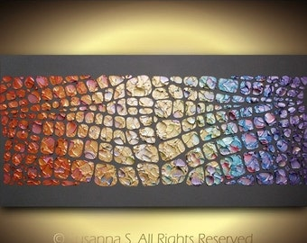ORIGINAL charcoal grey multi color large abstract contemporary pop art modern metallic palette knife painting by susanna 48x24 made2order
