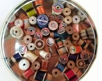 Vintage Wooden Spools Made In America Lot Of 53