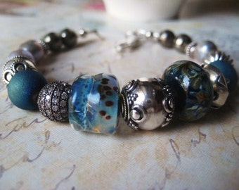Lampwork Bracelet, Sterling Silver, Blue Glass, Herkimer Diamond, Pyrite Gems, Gray Pearls, Bali Beads, Glass Bead Artist, candies64