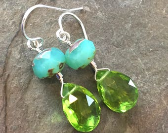 Parrot Green Hydro Peridot and Aqua Czech Glass Wire Wrapped Gemstone Earrings, Handmade, Sterling Silver
