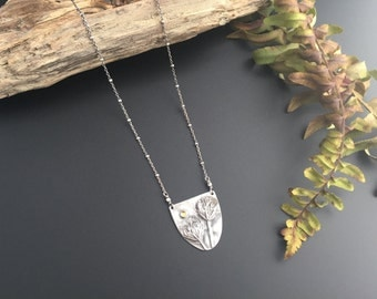 Queen Anne's Lace Shield with Citrine Recycled Silver Necklace