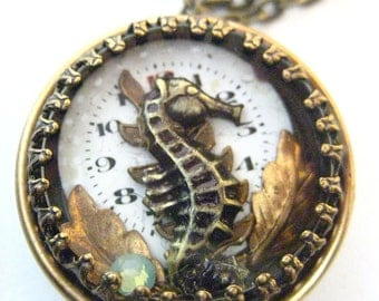 Seahorse Under Glass Locket , Steampunk Seahorse Shadowbox Creation, Victorian Seahorse Steampunk One of a Kind