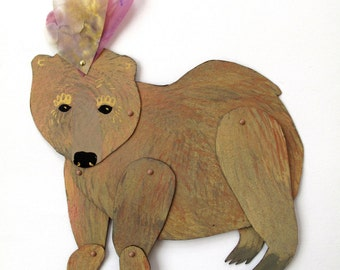Party Summer Bear articulated hand painted creature