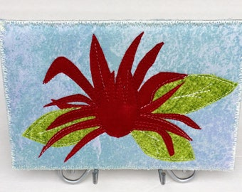 Red Flower - Flower Lover - Fabric Postcard - Small Quilt Art - Greeting Card - Fiber Art - Hostess Gift - Home Decor  - Gift for Her