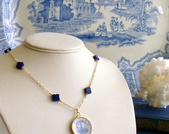 Lapis Lazuli Blue White Miniature Plate Necklace - China Doll Petite Necklace