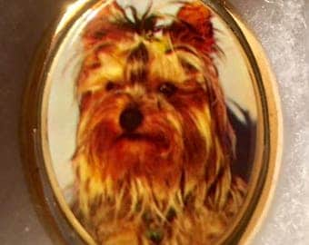 Yorkie DOG CAMEO pin set in Gold tone 30x40MM animal cameo  pin brooch