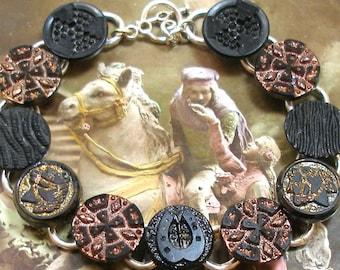 """SALE Horse BUTTON bracelet, Victorian black glass 7.5"""" silver bracelet. Antique button jewellery. Sale"""