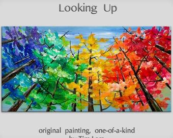 Looking Up tree painting Changing Season Aspen art large abstract art wall art gallery art modern art canvas art by Tim Lam 48x24