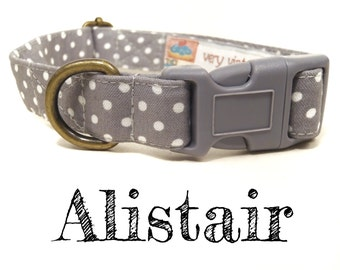 "Gray White Vintage Polka Dot Dog Collar -  Organic Cotton - Antique Brass Hardware - ""The Alistair"""