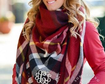 Monogrammed oversized square plaid blanket scarf - Brambleberry Plaid - Navy, Burgundy Maroon - large scarves, warm scarves, Oversized Scarf