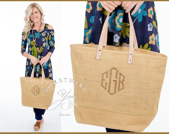 Monogrammed Burlap Tote Bag XL - Personalized Burlap Tote Natural Burlap Tote - Monogrammed Jute Beach Bag, jute tote with leather handles