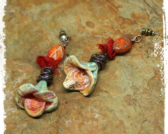 Bohemian flower earrings - Polymer clay floral earrings - Gift for her - Assemblage earrings mixed media