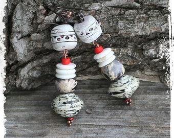Boho earrings for her, Polymer clay earrings for women, Boho chic earrings for women, Bohemian dangle earrings for women, Gypsy earrings