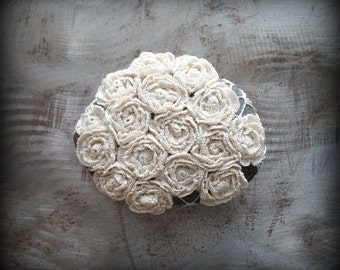Flower Garden Stone, Crocheted Lace, Folk Art, Bloom, Rose, Original, Handmade, Home Decor, Collectible, Mothers Day