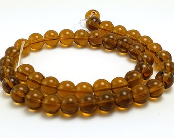 40 Brown Glass Beads 8mm glass round transparent (H2339)